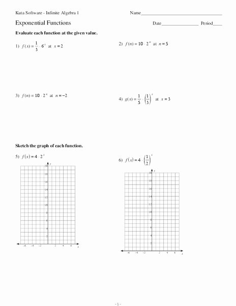 Algebra 1 Function Notation Worksheet Elegant Exponential Functions Worksheet for 9th 12th Grade