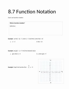 Algebra 1 Function Notation Worksheet Luxury Function Notation Worksheet 2 School