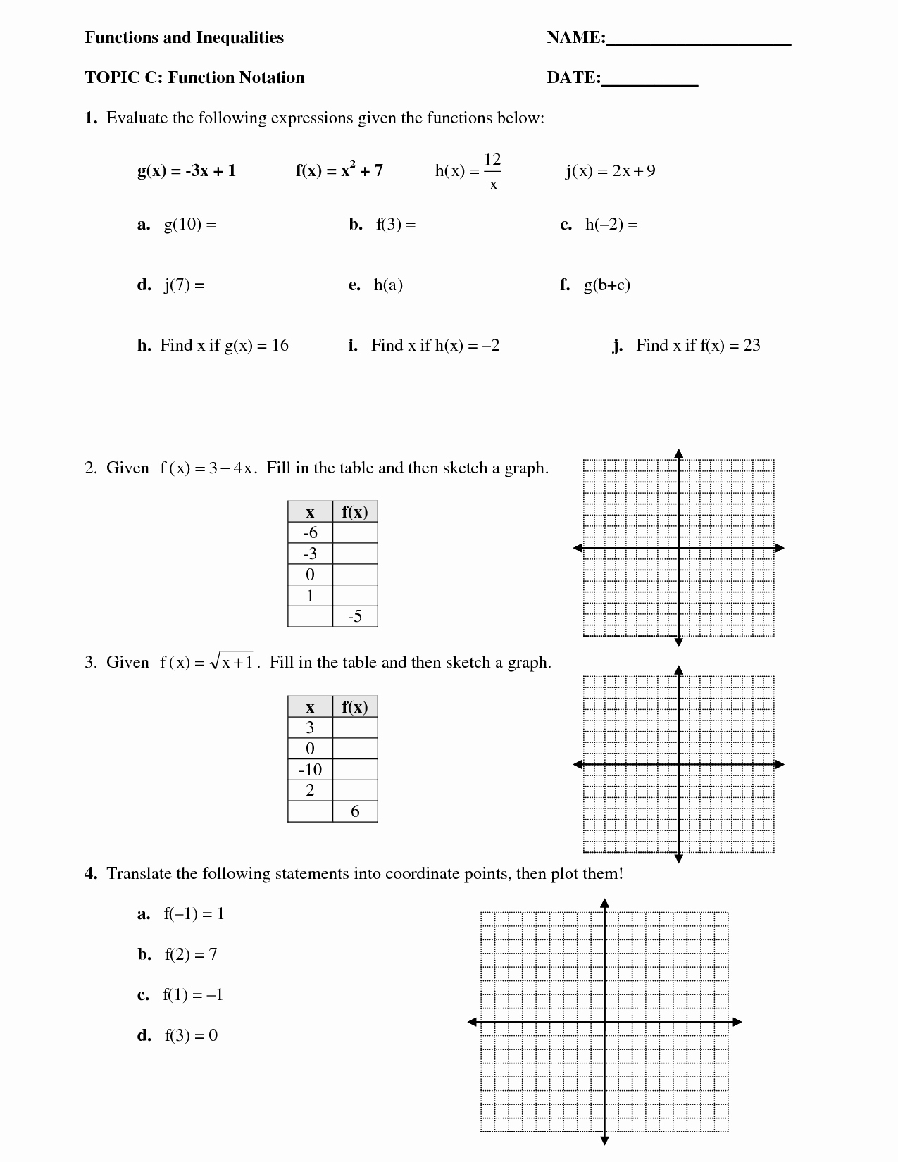 Algebra 1 Functions Worksheet Awesome 12 Best Of Function Notation Algebra Worksheets