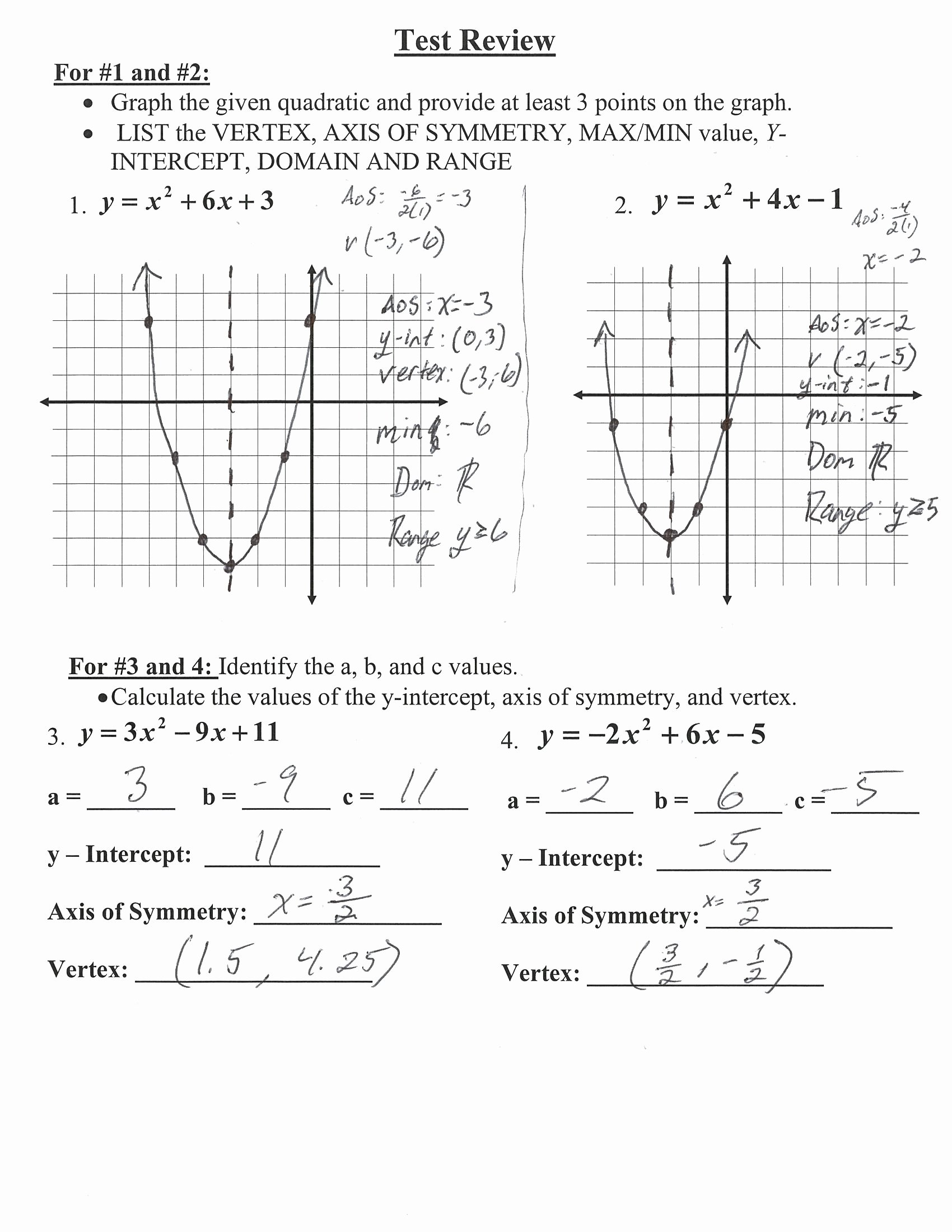 Algebra 1 Functions Worksheet Elegant Algebra 1 Quadratic Test Review Answer Key