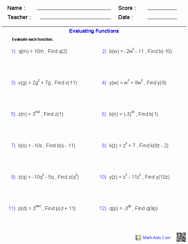 Algebra 1 Functions Worksheet Fresh Evaluating General Functions Worksheets Hifsa