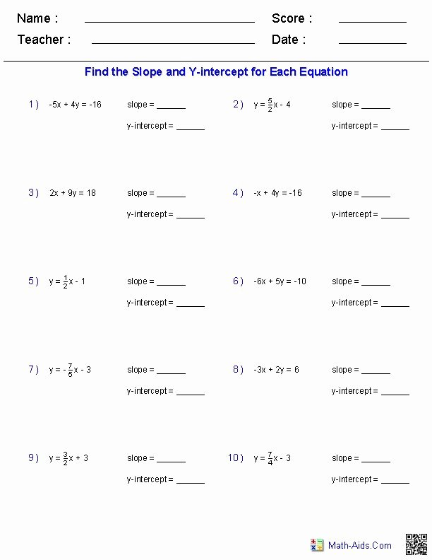 Algebra 1 Functions Worksheet Lovely Finding Slope and Y Intercept From A Linear Equation