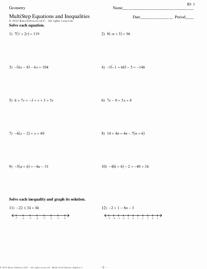 Algebra 1 Inequalities Worksheet Fresh Multistep Equations and Inequalities 3sets Pdf