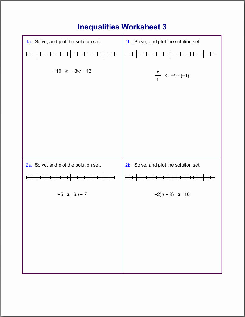 Algebra 1 Inequalities Worksheet Fresh Worksheets for Inequalities