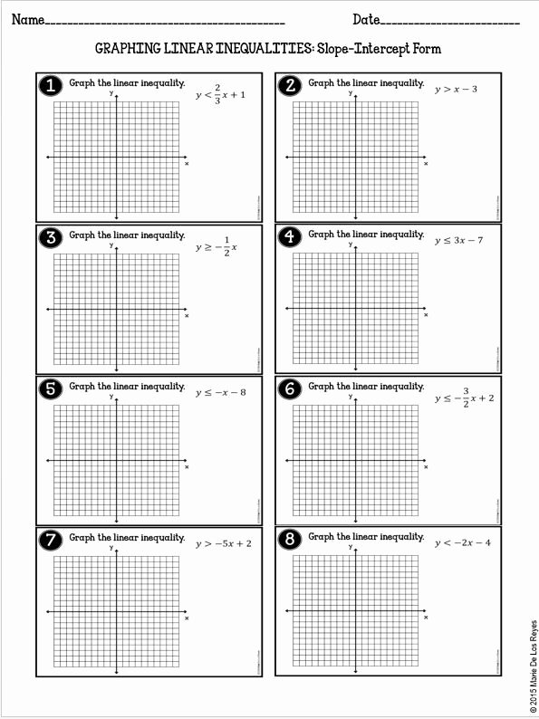 Algebra 1 Inequalities Worksheet Inspirational Graphing Linear Inequalities Practice