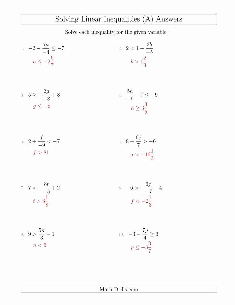 Algebra 1 Inequalities Worksheet Inspirational solving Linear Inequalities Including A Third Term