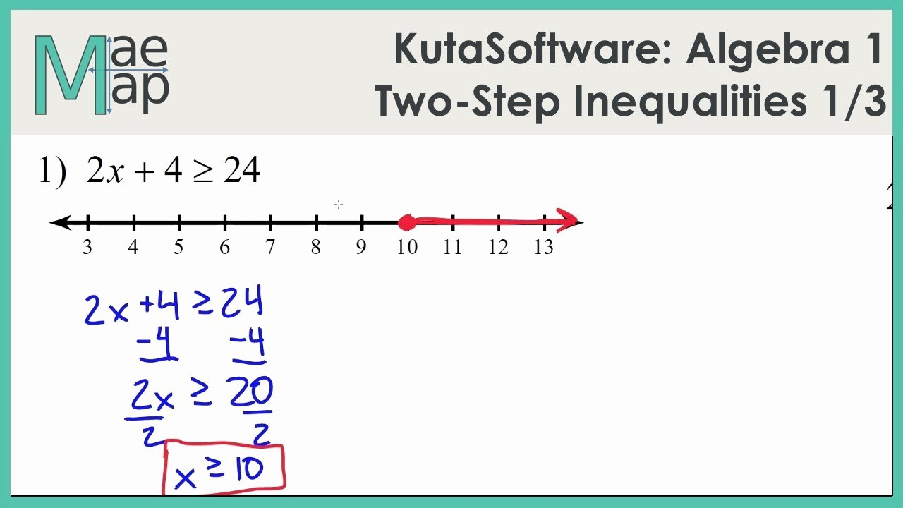 Algebra 1 Inequalities Worksheet Luxury Kutasoftware Algebra 1 Two Step Inequalities Part 1