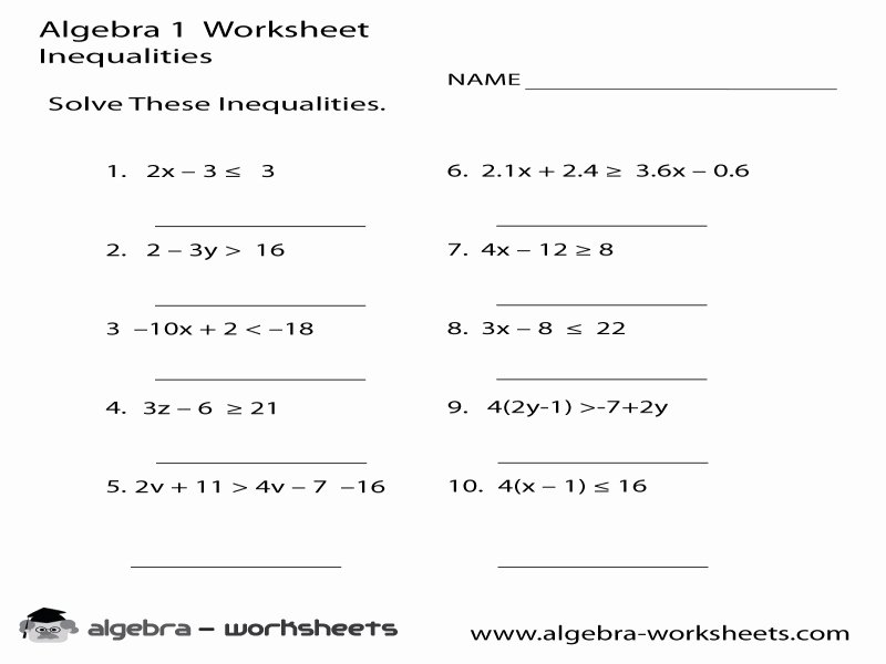 Algebra 1 Inequalities Worksheet Unique Print the Free Inequalities Algebra 1 Worksheet