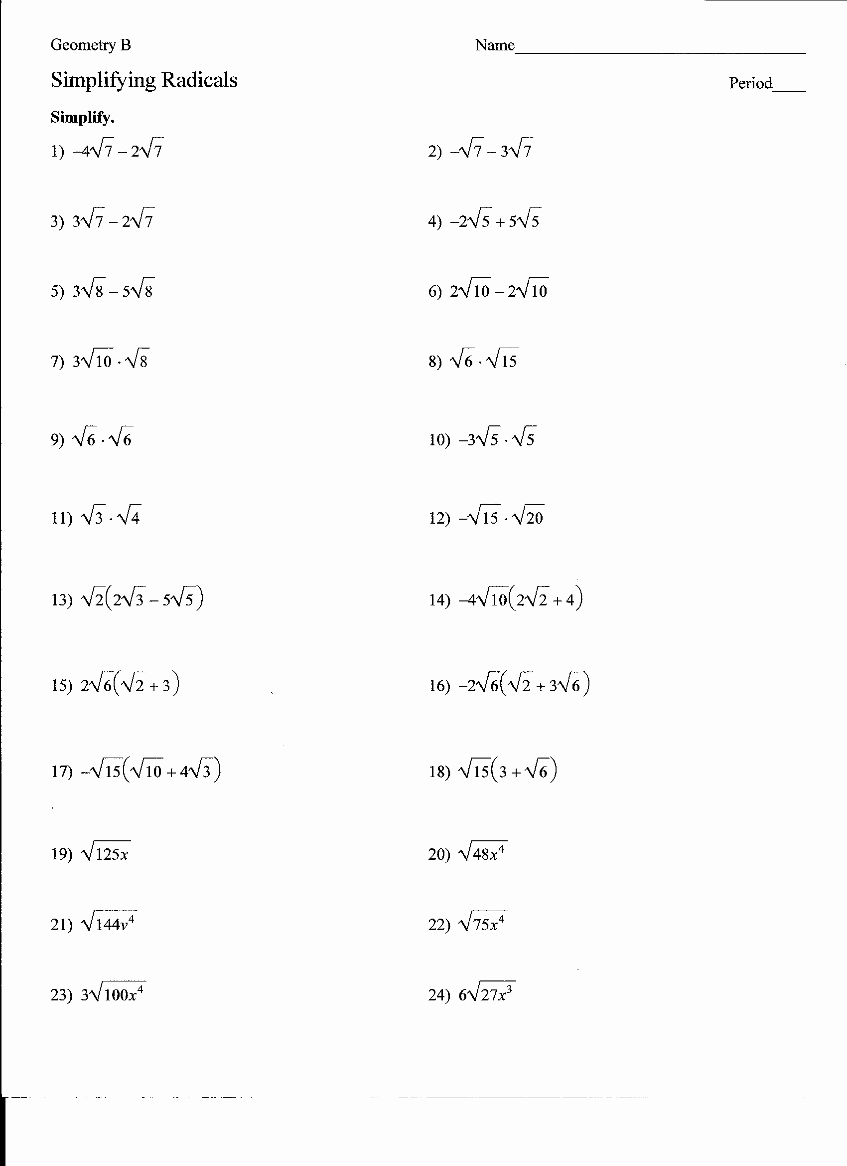 Algebra 1 Review Worksheet Luxury Algebra 1 Review Simplifying Radicals Answers