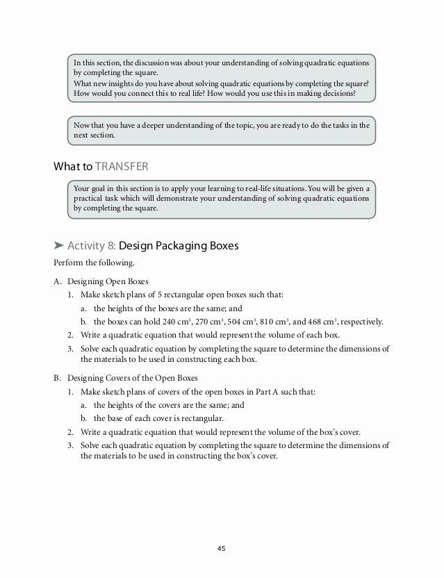 Algebra 1 Review Worksheet Unique solving Quadratic Equations Review Worksheet Pdf Holt