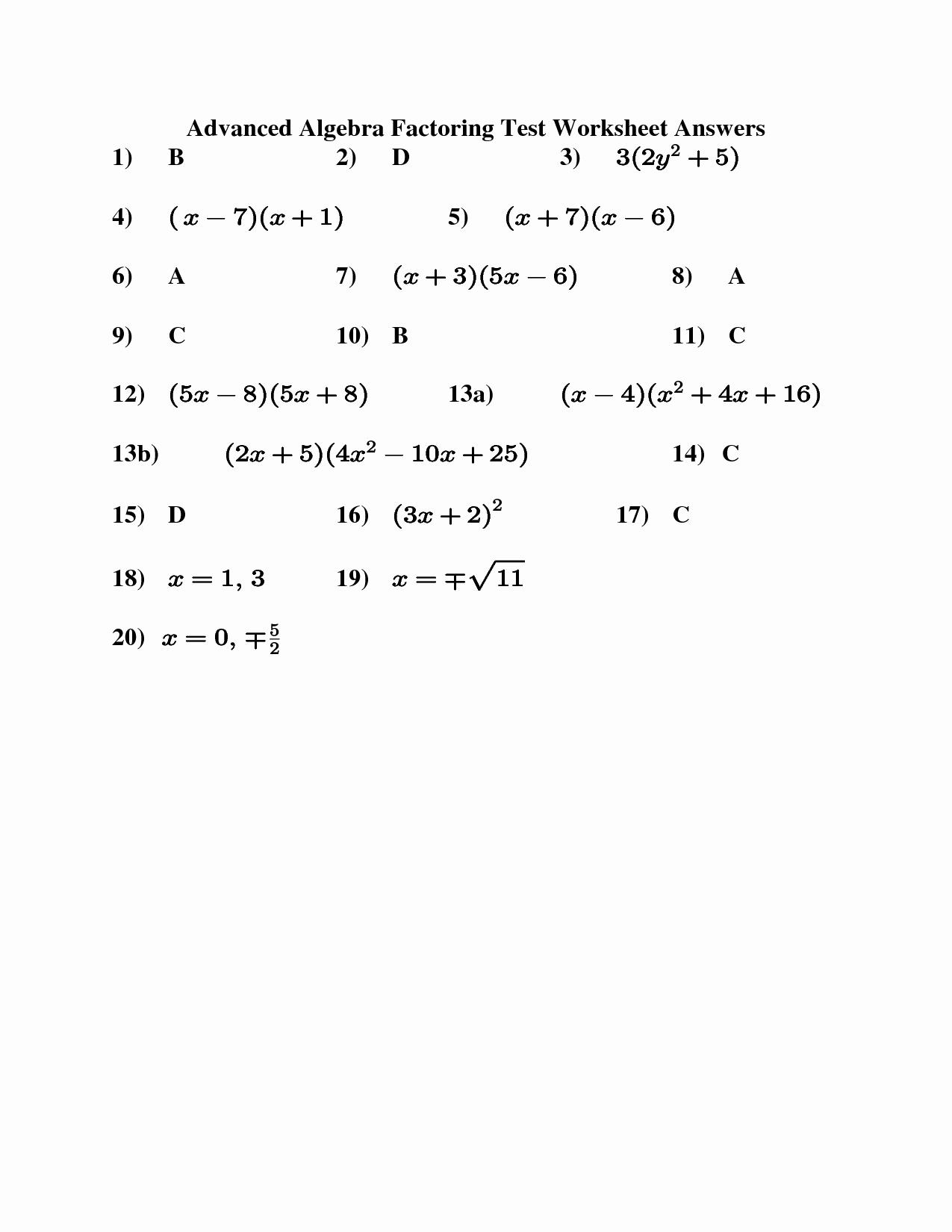 Algebra 2 Factoring Worksheet Beautiful 11 Best Of Factoring Worksheets Algebra Ii