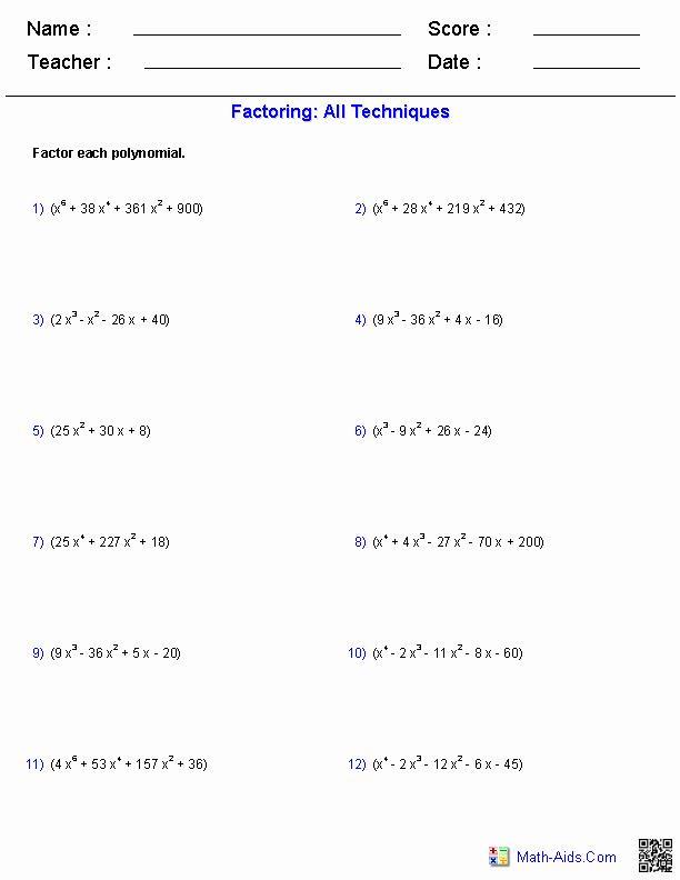 Algebra 2 Factoring Worksheet Beautiful Algebra 2 Worksheets