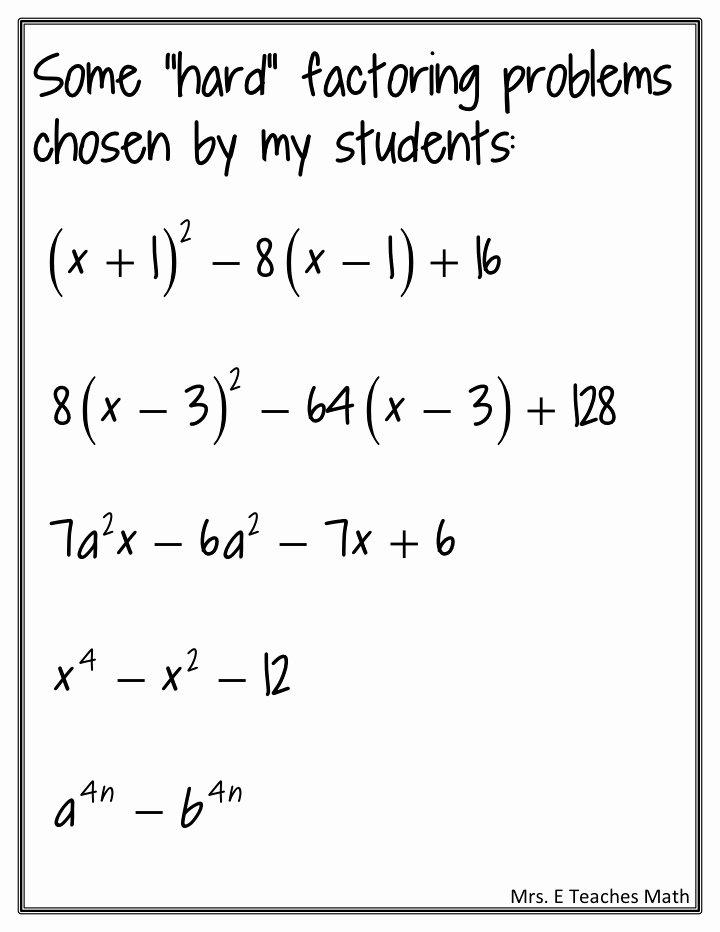 Algebra 2 Factoring Worksheet Unique Factoring Practice