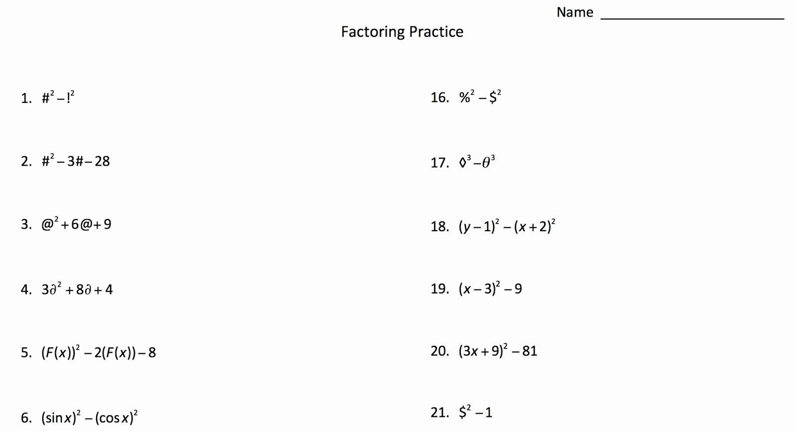 Algebra 2 Factoring Worksheet Unique Factoring with Symbols