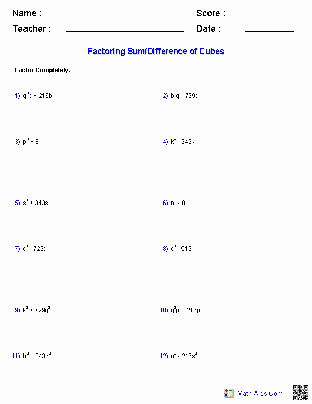 Algebra 2 Factoring Worksheet Unique Pin On Math Aids