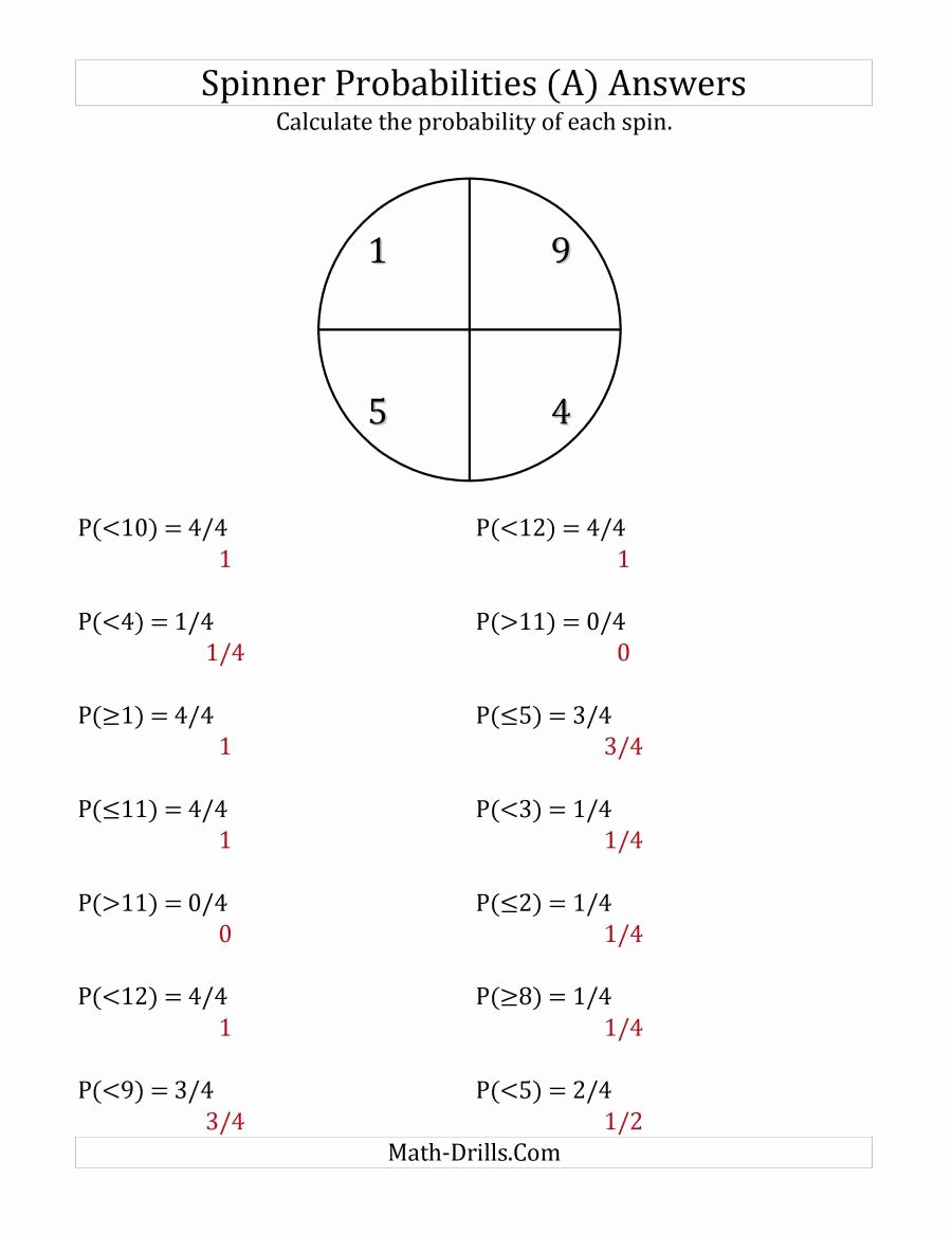 Algebra 2 Probability Worksheet Awesome 4 Section Spinner Probabilities A