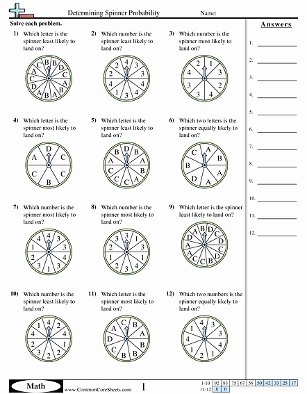 Algebra 2 Probability Worksheet Best Of Determining Spinner Probability Worksheet