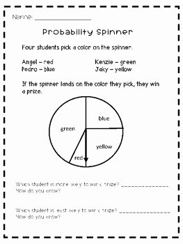 Algebra 2 Probability Worksheet Elegant Probability Spinner Worksheet by Chungry for Learning