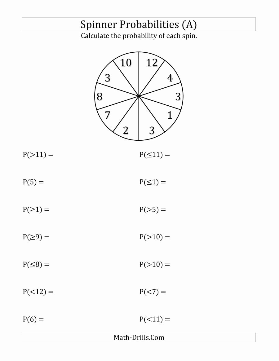 Algebra 2 Probability Worksheet Fresh 10 Section Spinner Probabilities A
