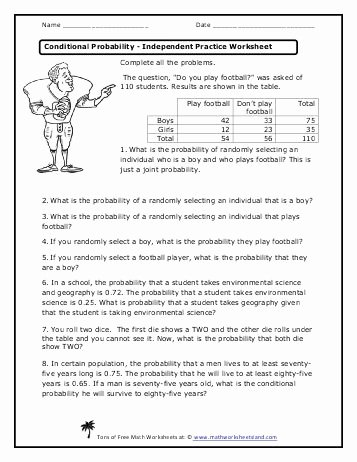 Algebra 2 Probability Worksheet Fresh Conditional Probability Independent Practice Worksheet