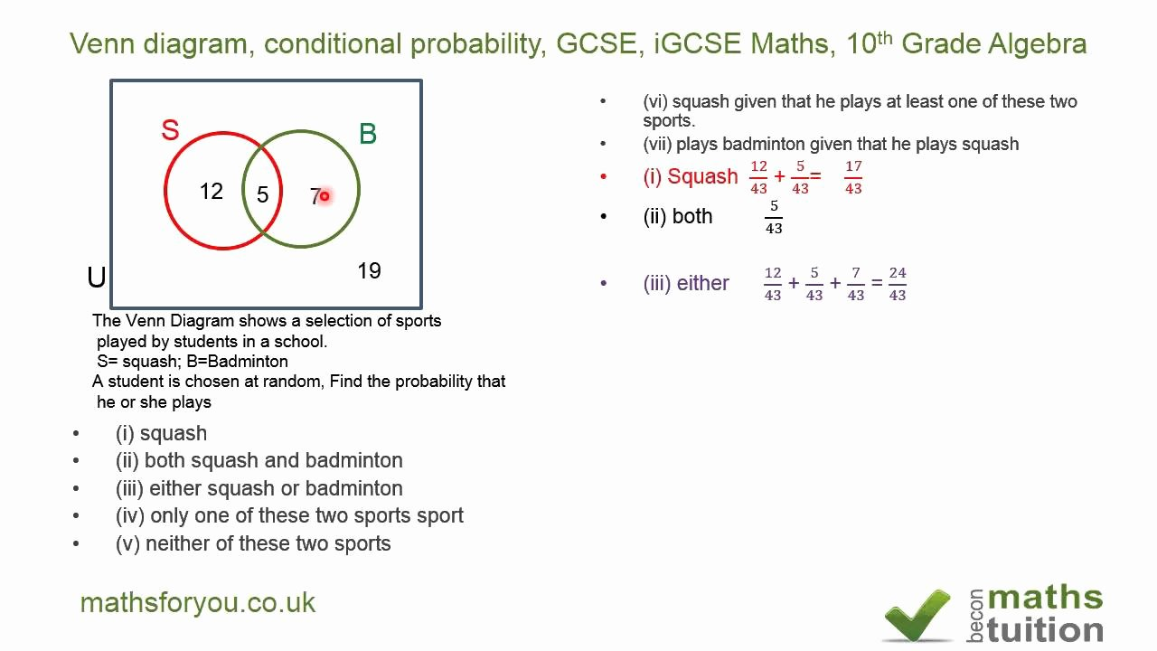 Algebra 2 Probability Worksheet Inspirational Venn Diagram Conditional Probability Gcse Igcse Maths