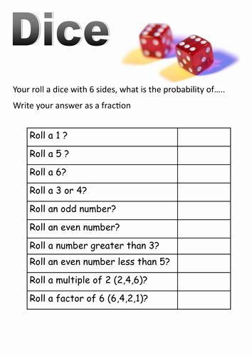 Algebra 2 Probability Worksheet New Dice and Cards Probability Short Worksheets by Moth754