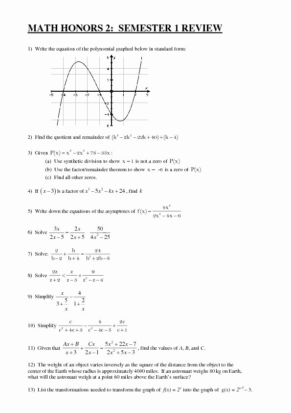 Algebra 2 Review Worksheet Fresh Math Honors 2 Semester 1 Review Worksheet for 10th 12th