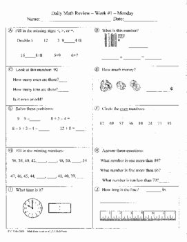 Algebra 2 Review Worksheet New Daily Math Review and Quizzes 2nd Grade Try for Free