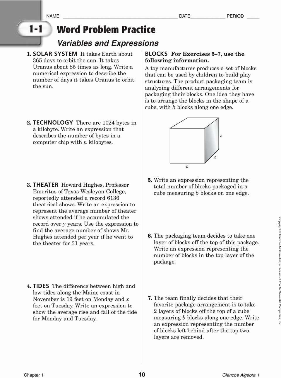 Algebra 2 Word Problems Worksheet Awesome 1 1 Word Problem Practice Variables and Expressions Pdf