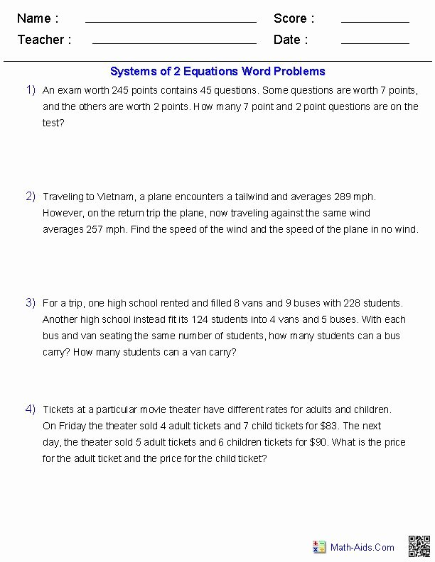 Algebra 2 Word Problems Worksheet Fresh Systems Of Two Equations Word Problems Mcr