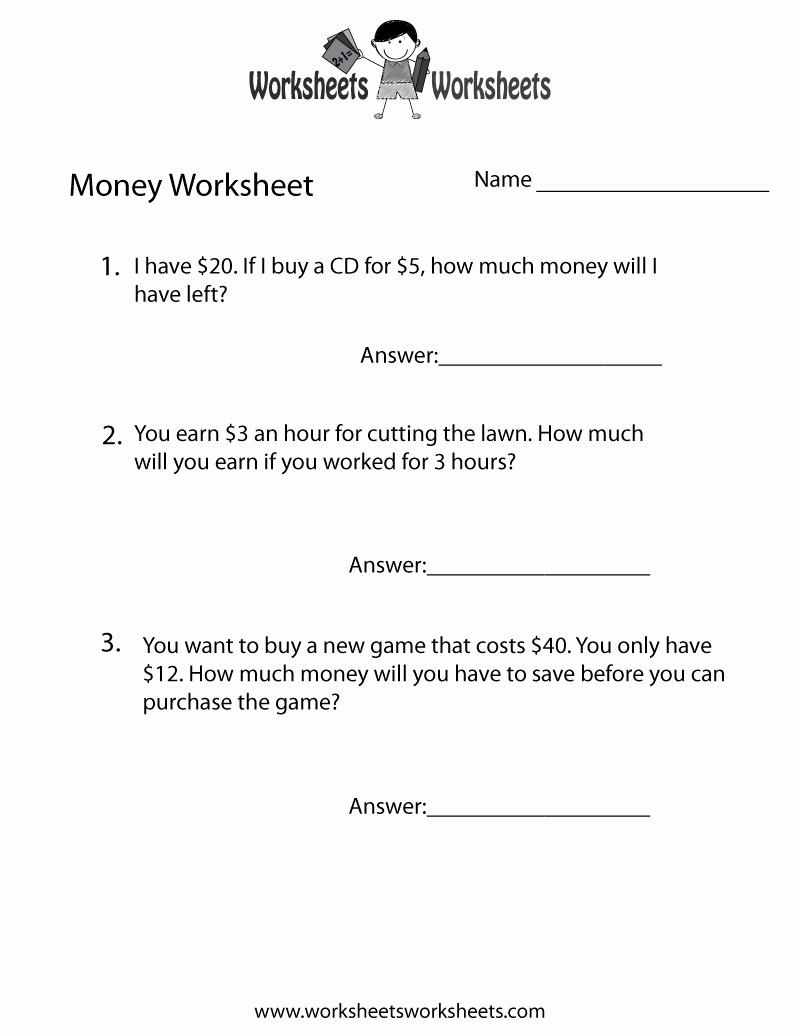 Algebra 2 Word Problems Worksheet Unique Money Word Problems Worksheet Free Printable Educational