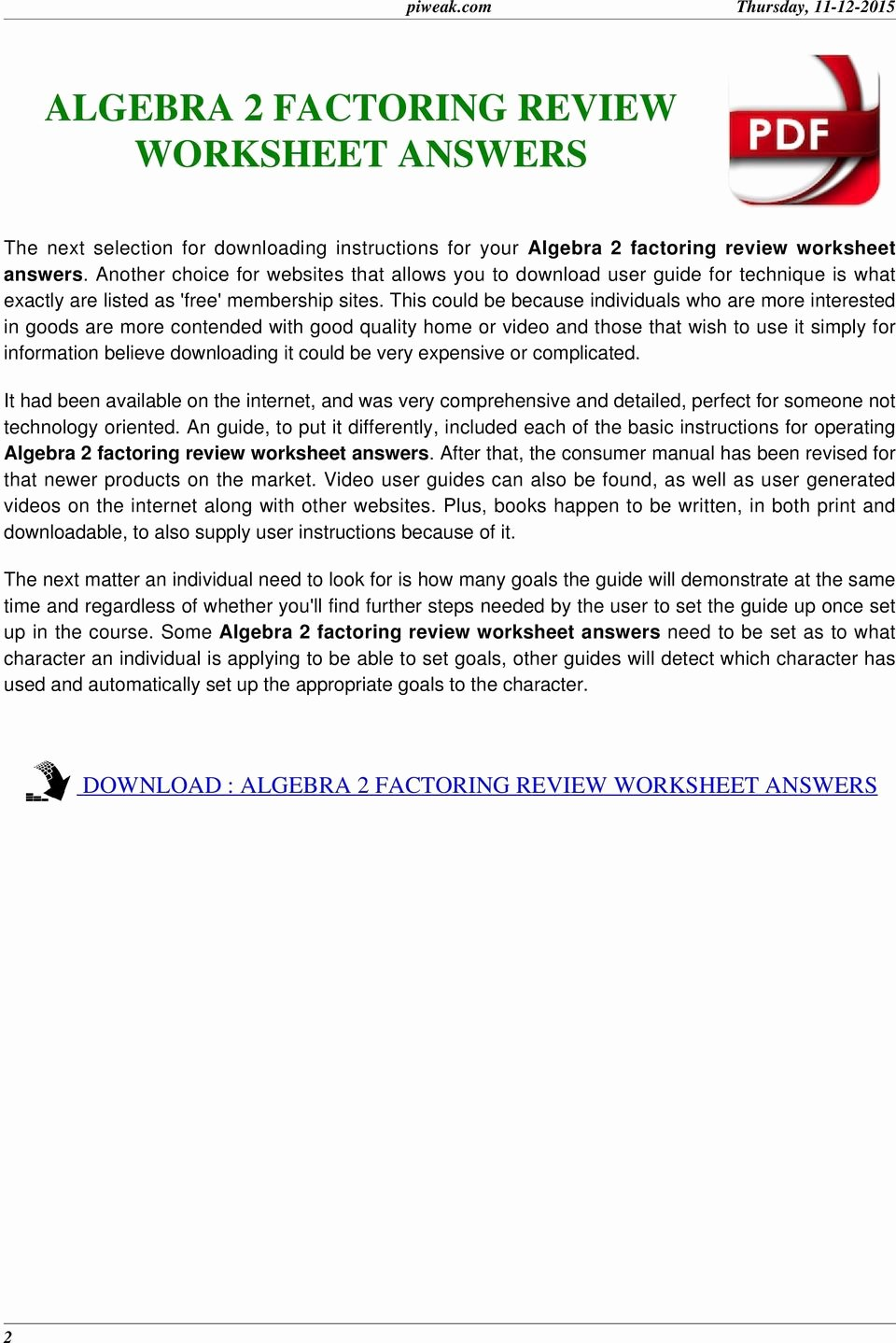 Algebra 2 Worksheet Pdf Awesome Algebra 2 Factoring Worksheet with Answers