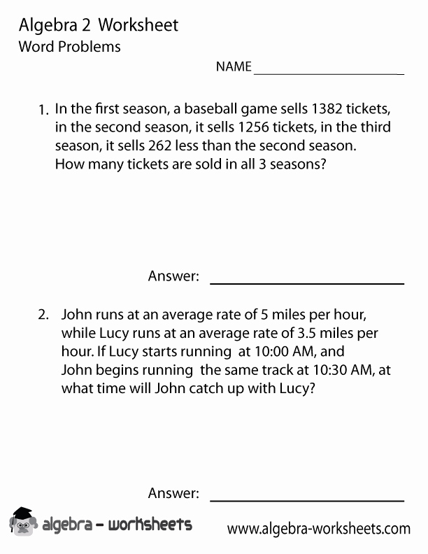 Algebra 2 Worksheet Pdf Beautiful Algebra 2 Word Problems Worksheet Printable