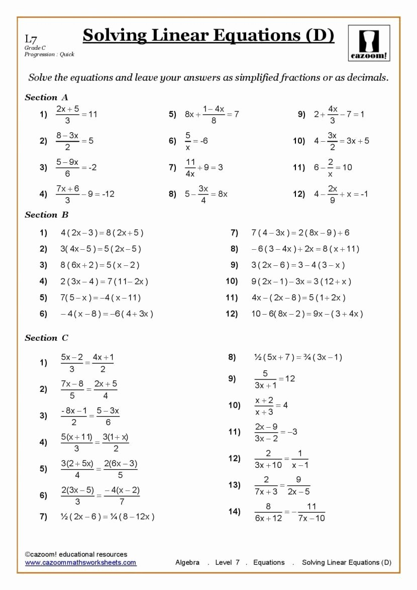 Algebra 2 Worksheet Pdf Elegant Ks3 Ks4 Maths Worksheets Printable with Answers Year 7