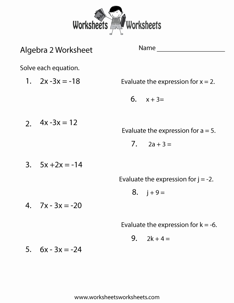 Algebra 2 Worksheet Pdf Fresh Algebra 2 Review Worksheet Free Printable Educational