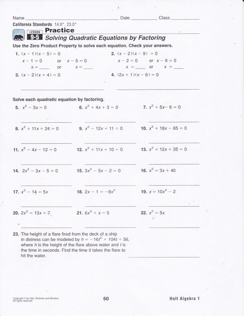 Algebra 2 Worksheet Pdf Unique solving Equations by Factoring Worksheet