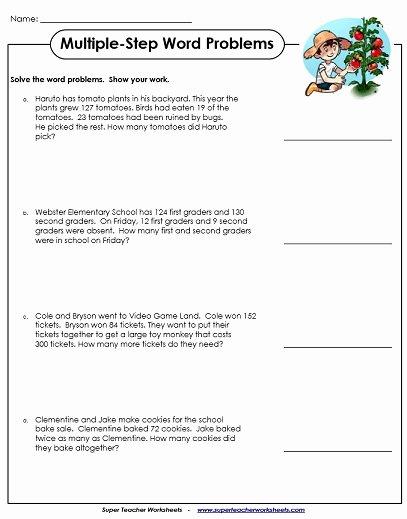 Algebra Word Problems Worksheet Pdf Fresh Multiple Step Word Problem Worksheets