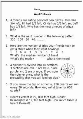 Algebra Word Problems Worksheet Pdf Unique Printable 5th Grade Math Word Problem Worksheets