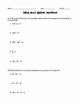 Algebraic Expressions Worksheet Pdf Best Of Algebraic Expressions Worksheet by Amanda S Math Corner