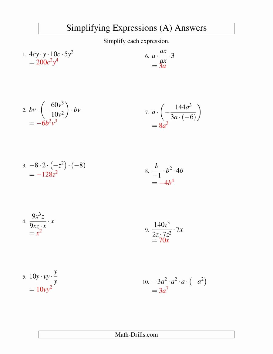 Algebraic Expressions Worksheet Pdf Best Of Simplifying Algebraic Expressions with Two Variables and