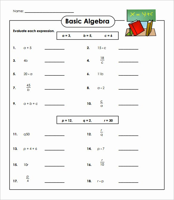 Algebraic Expressions Worksheet Pdf Fresh Basic Algebra Worksheets