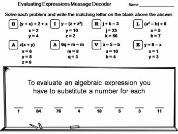 Algebraic Expressions Worksheet Pdf Inspirational Evaluating Algebraic Expressions Worksheet Math Message