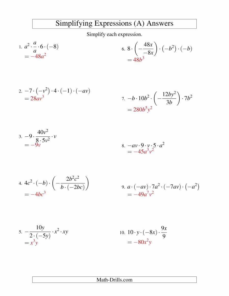 Algebraic Expressions Worksheet Pdf Inspirational Simplifying Algebraic Expressions with Two Variables and