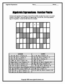 Algebraic Expressions Worksheet Pdf Lovely Algebraic Expressions Evaluating Number Puzzle by Algebra