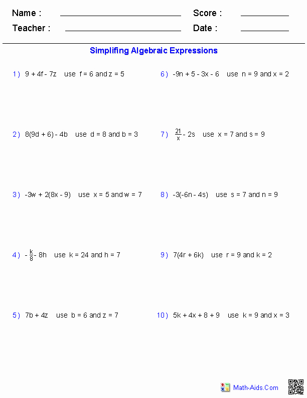 Algebraic Expressions Worksheet Pdf Luxury Algebra 1 Worksheets