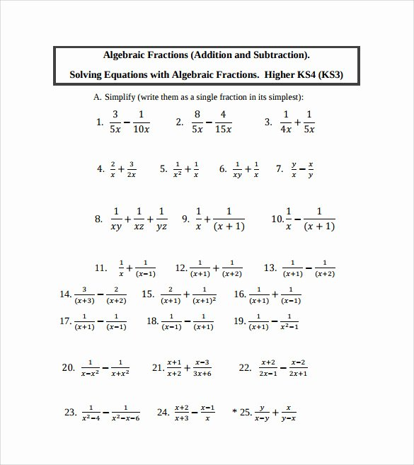 Algebraic Expressions Worksheet Pdf Unique Sample Algebraic Subtraction Worksheet 9 Documents In Pdf