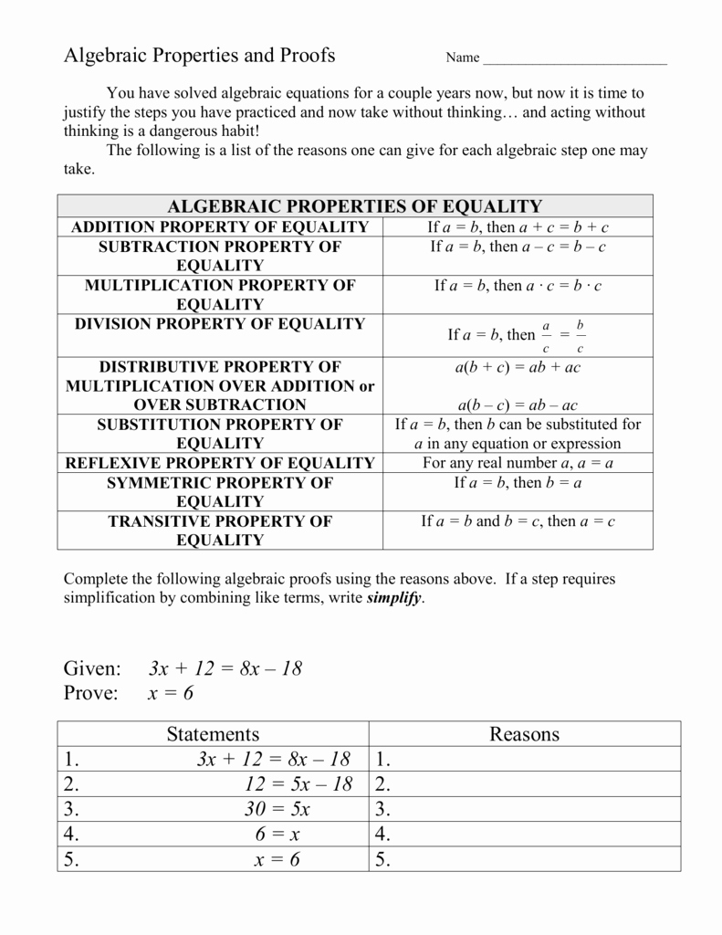 Algebraic Proofs Worksheet with Answers Unique Algebraic Properties and Proofs