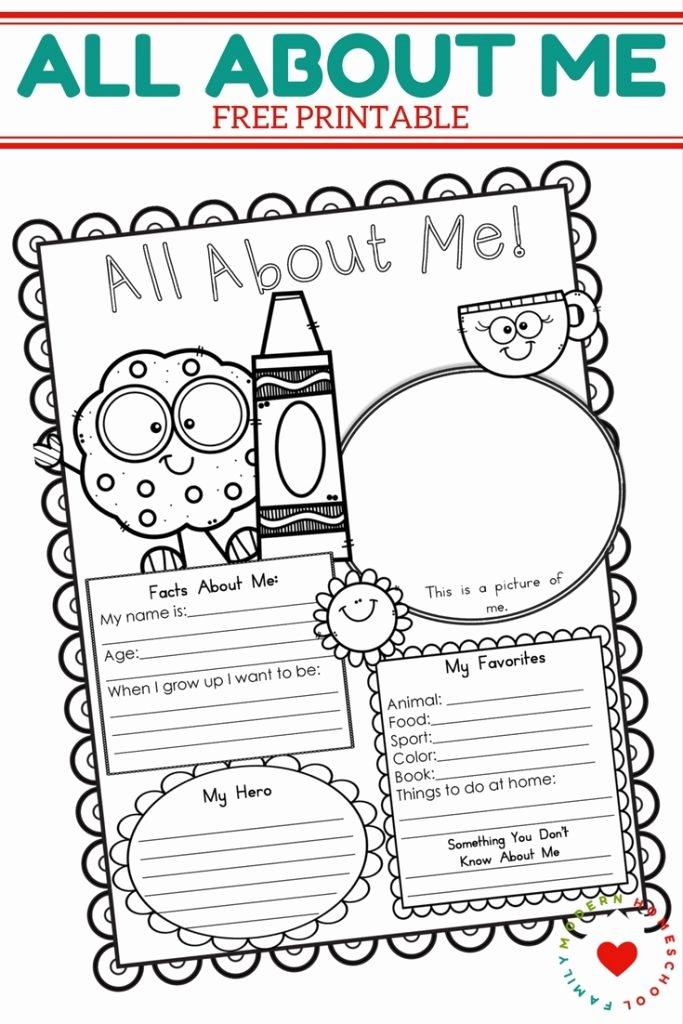All About Me Printable Worksheet Elegant Free All About Me Printable Modern Homeschool Family
