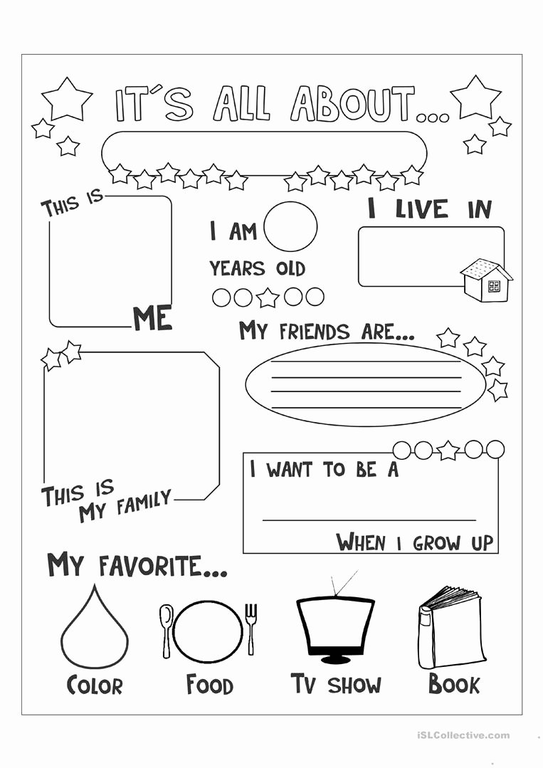 All About Me Worksheet Fresh All About Me English Esl Worksheets