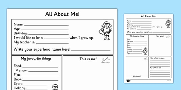 All About Me Worksheet Inspirational All About Me Worksheet All About Me Worksheet Self